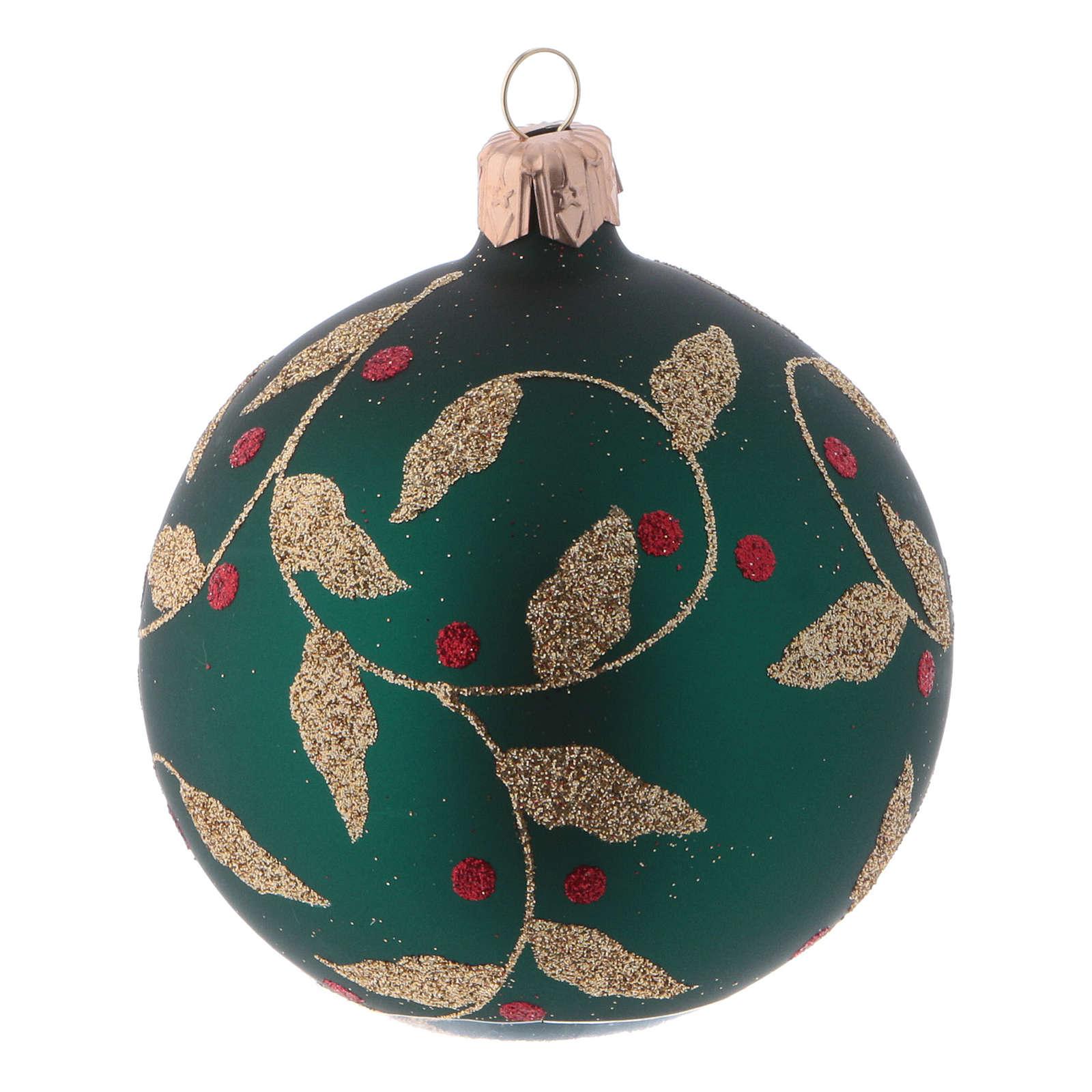 Boules de Noël verre vert décoration fragon faux houx doré 80 mm 6 pcs 4