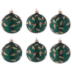 Boules de Noël verre vert décoration fragon faux houx doré 80 mm 6 pcs s1