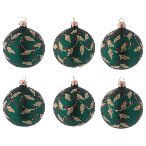 Boules de Noël verre vert décoration fragon faux houx doré 80 mm 6 pcs 1