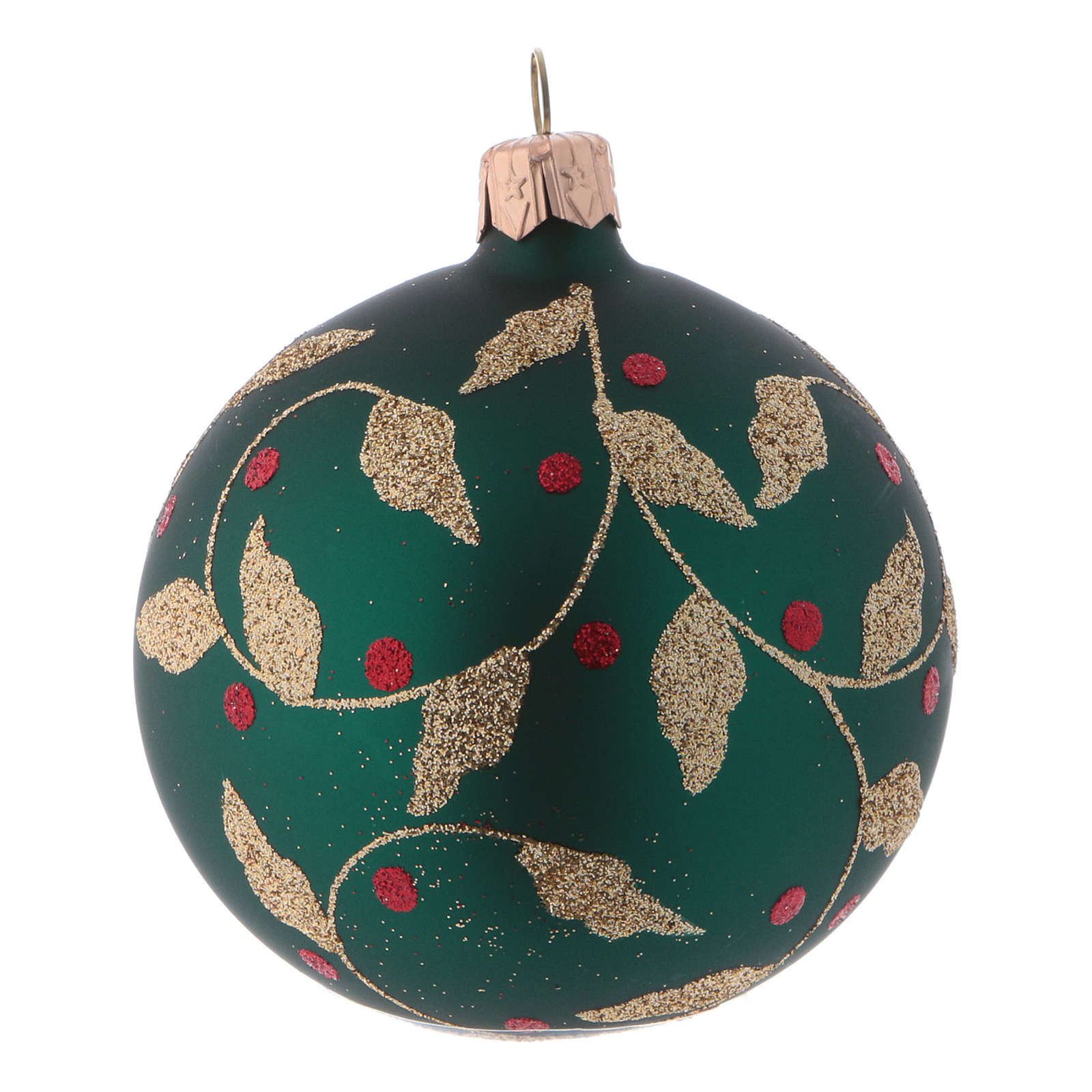 Green blown glass Christmas balls with gold leaves design 8 cm 6 pcs 4
