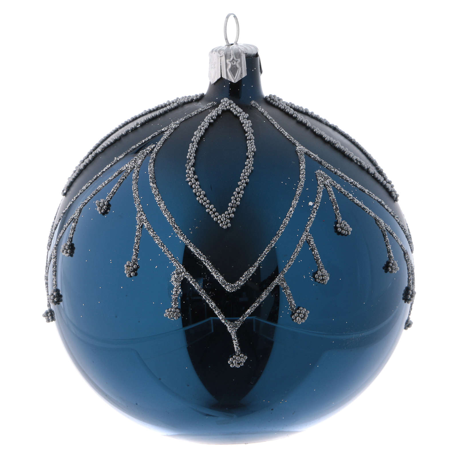 Christmas Balls.Blue Blown Glass Christmas Balls With Silver Glitter 10 Cm 4 Pcs