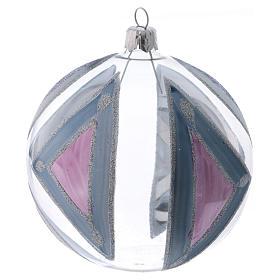 Boule sapin de Noël verre transparent avec décorations 100 mm s2