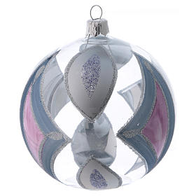 Boule sapin de Noël verre transparent avec décorations 100 mm s3