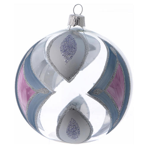 Boule sapin de Noël verre transparent avec décorations 100 mm 1