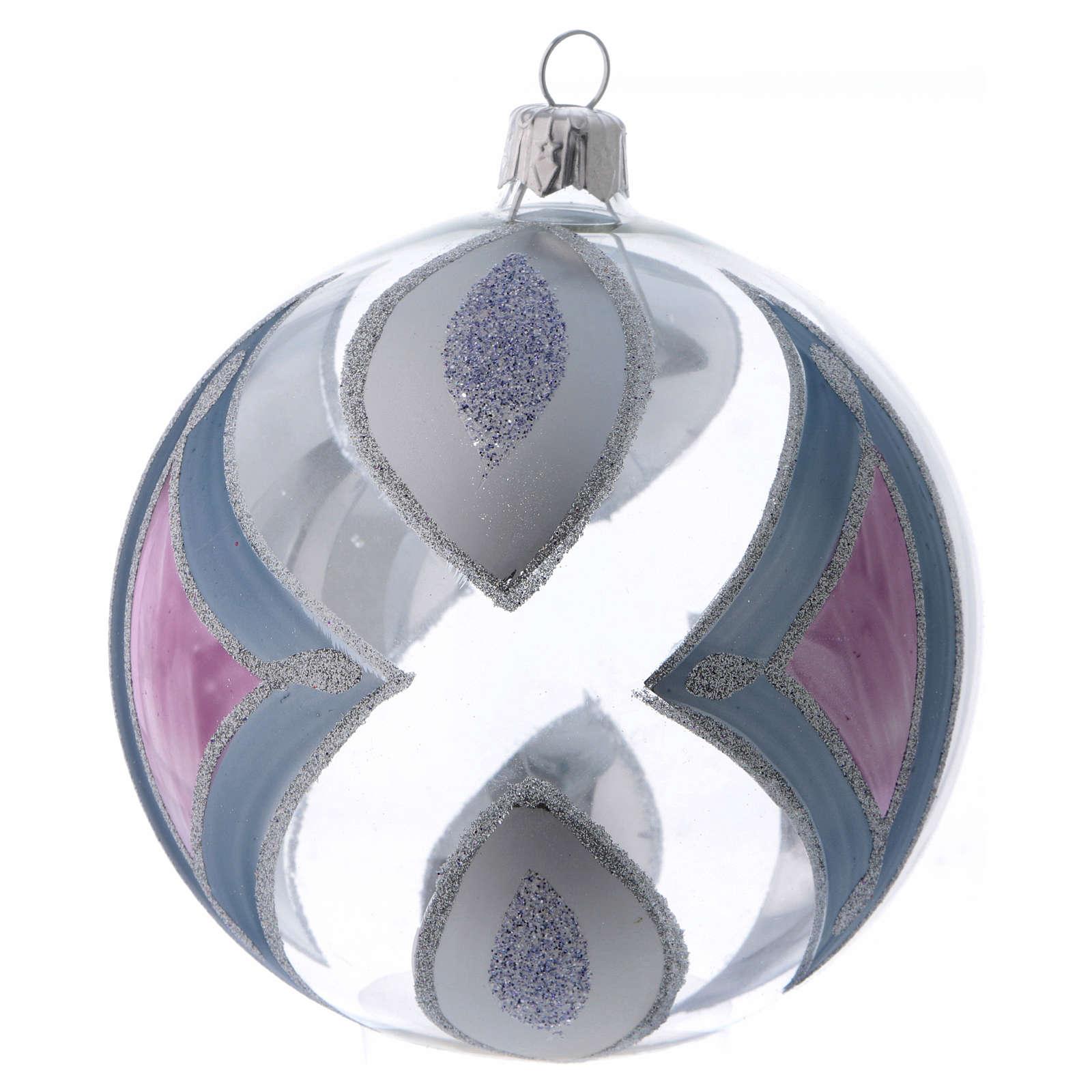 Palla Albero di Natale vetro trasparente con decori 100 mm 4