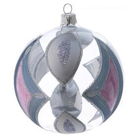 Palla Albero di Natale vetro trasparente con decori 100 mm s3