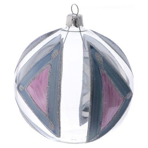 Palla Albero di Natale vetro trasparente con decori 100 mm 2