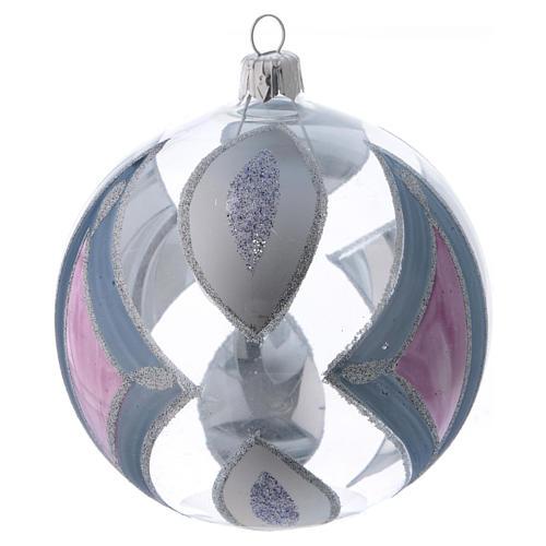 Palla Albero di Natale vetro trasparente con decori 100 mm 3