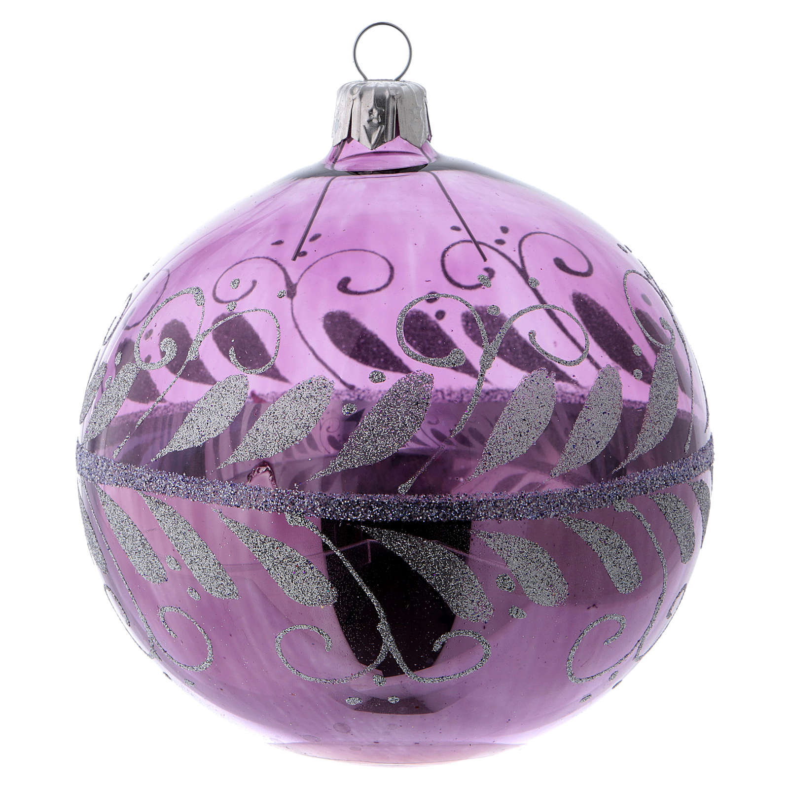 Christmas ball in lilac glass with silver decoration 100 mm 4