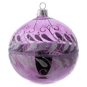 Christmas ball in lilac glass with silver decoration 100 mm s1