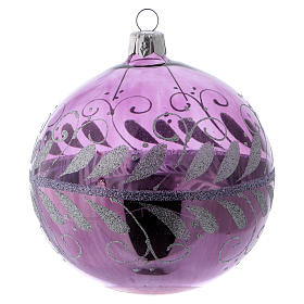 Christmas ball in lilac glass with silver decoration 100 mm s2