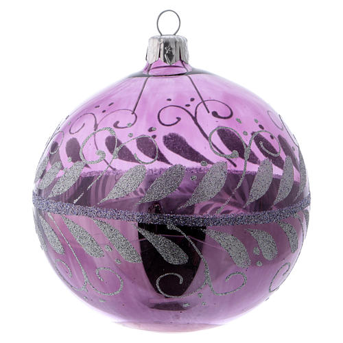 Christmas ball in lilac glass with silver decoration 100 mm 1