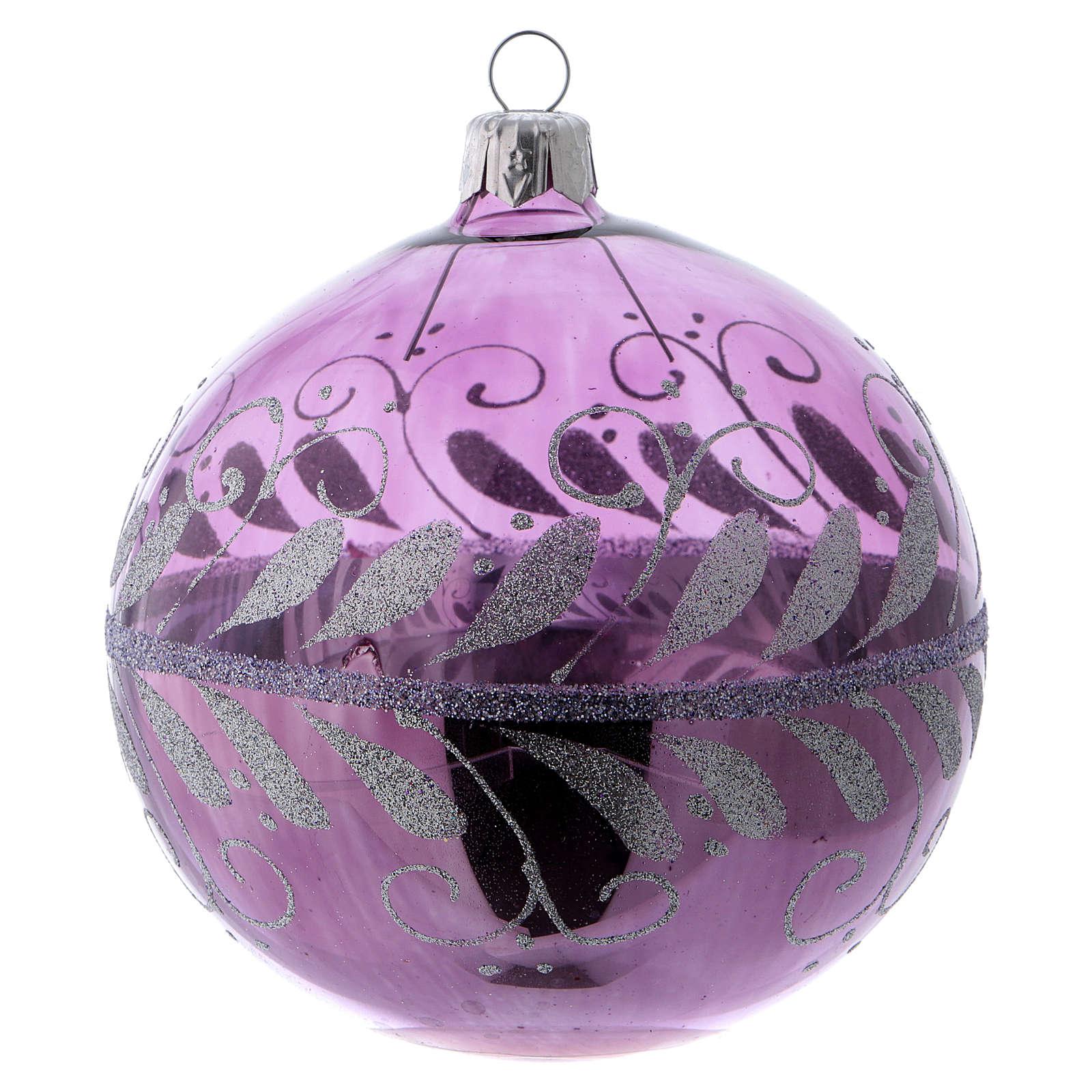 Boule verre lilas avec décoration argent 100 mm 4