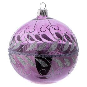 Boule verre lilas avec décoration argent 100 mm s1
