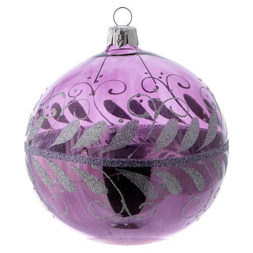 Boule verre lilas avec décoration argent 100 mm 2