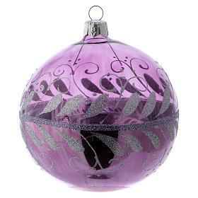 Pallina vetro lilla con ornamento argento 100 mm s2