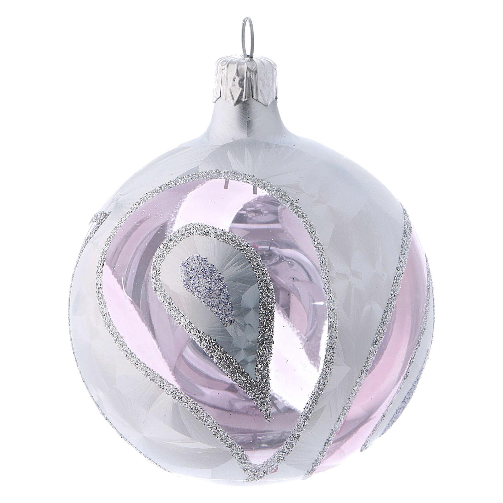 Weihnachtskugeln aus transparentem Glas 4er-Set mit Verzierungen im Eiseffekt 80 mm 4