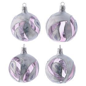Boules Noël verre transparent avec décoration effet glace 80 mm 4 pcs s1