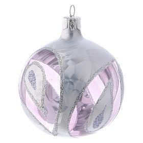 Boules Noël verre transparent avec décoration effet glace 80 mm 4 pcs s3