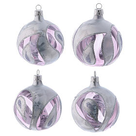 Transparent blown glass balls with silver decoration 8 cm, set of 4 s1