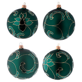 Christmas ball in green glass with velvet effect and golden decoration 100 mm 4 pieces s1