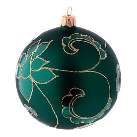 Christmas ball in green glass with velvet effect and golden decoration 100 mm 4 pieces s2