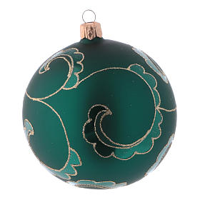 Christmas ball in green glass with velvet effect and golden decoration 100 mm 4 pieces s3