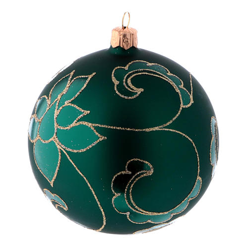Christmas ball in green glass with velvet effect and golden decoration 100 mm 4 pieces 2