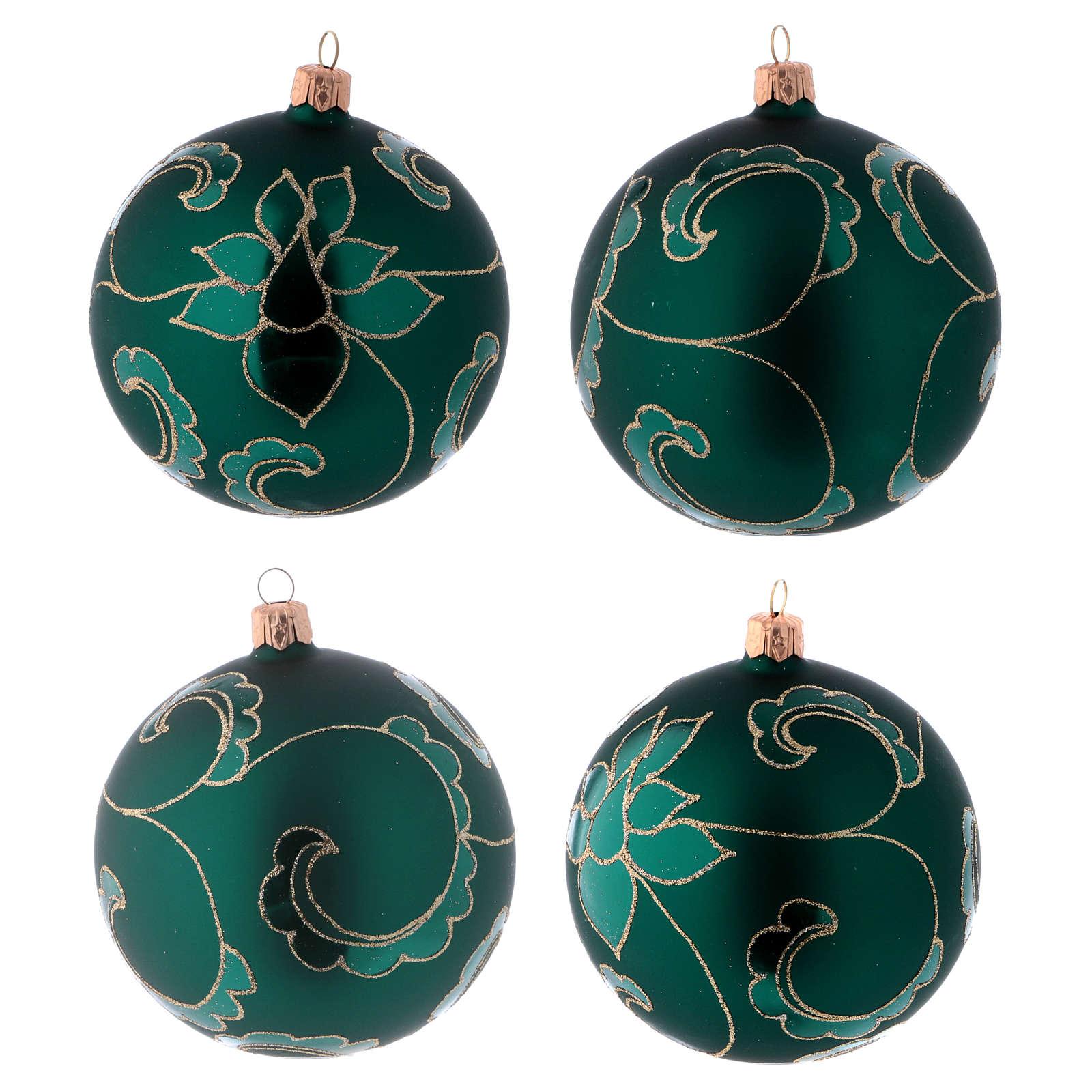 Bolitas vidrio verde efecto terciopelo con decoración dorado 100 mm 4 piezas 4