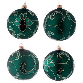 Bolitas vidrio verde efecto terciopelo con decoración dorado 100 mm 4 piezas s1