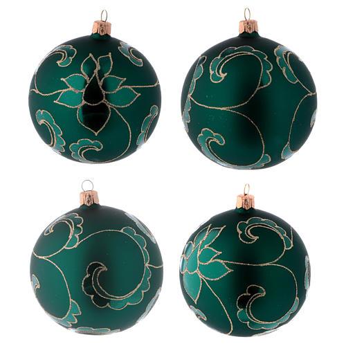 Bolitas vidrio verde efecto terciopelo con decoración dorado 100 mm 4 piezas 1