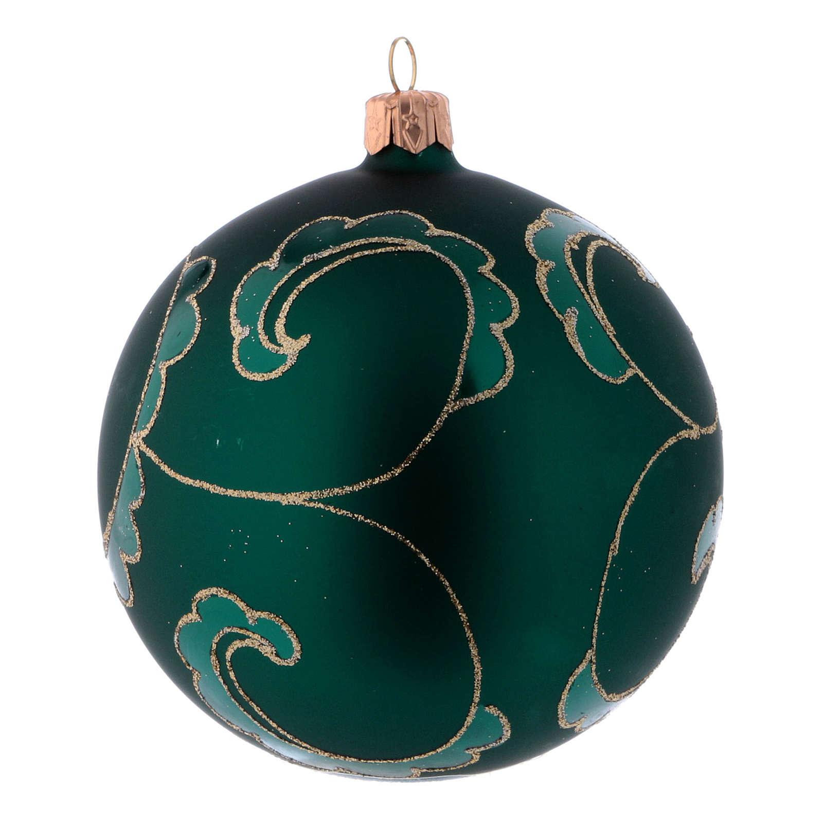 Green blown glass Christmas balls matte finish 10 cm 4