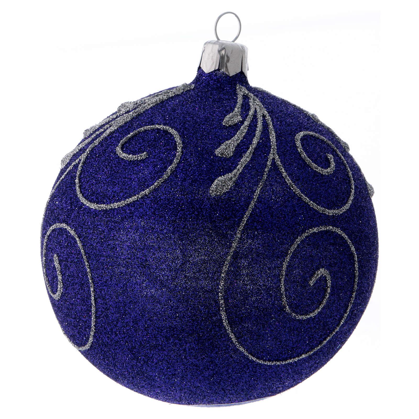 Weihnachtskugel aus Glas mit violetten und silbernen Glitter verziert 100 mm 4