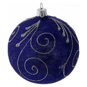 Weihnachtskugel aus Glas mit violetten und silbernen Glitter verziert 100 mm s1