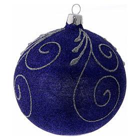 Weihnachtskugel aus Glas mit violetten und silbernen Glitter verziert 100 mm s2