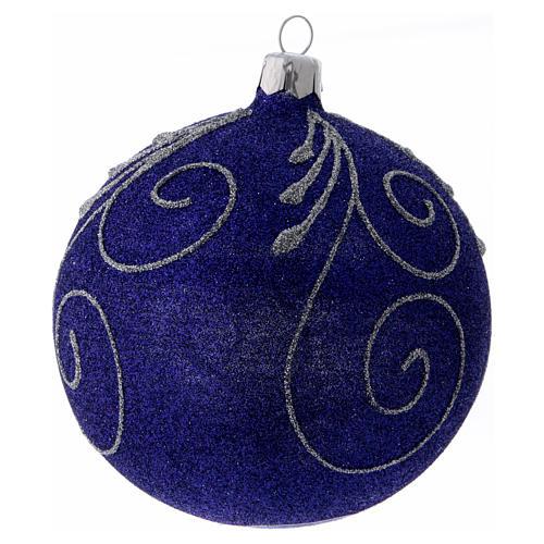Weihnachtskugel aus Glas mit violetten und silbernen Glitter verziert 100 mm 2