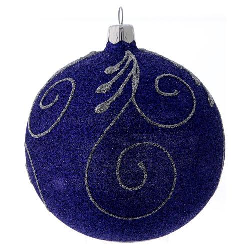 Weihnachtskugel aus Glas mit violetten und silbernen Glitter verziert 100 mm 3