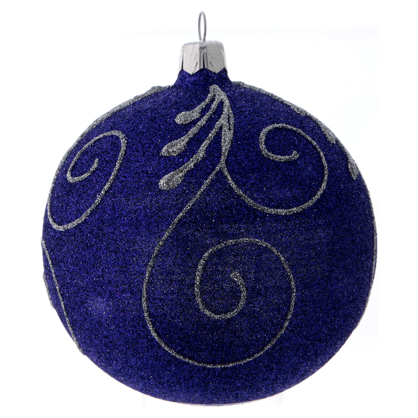 Christmas ball in glittery violet glass with silver decorations 100 mm 4