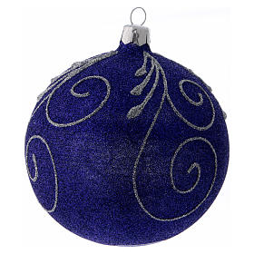 Christmas ball in glittery violet glass with silver decorations 100 mm s2