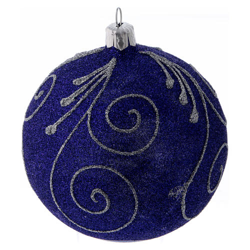 Christmas ball in glittery violet glass with silver decorations 100 mm 1