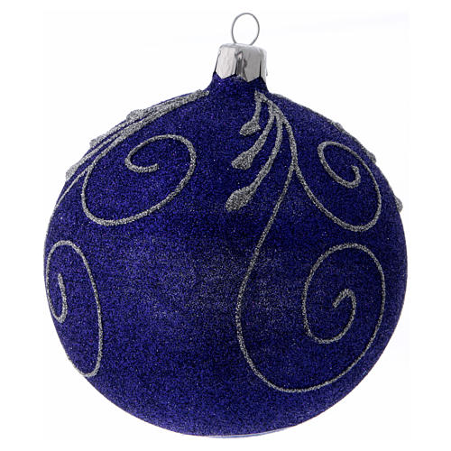 Christmas ball in glittery violet glass with silver decorations 100 mm 2