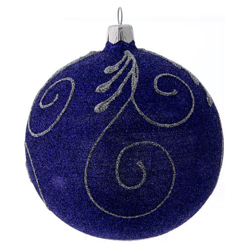 Christmas ball in glittery violet glass with silver decorations 100 mm 3