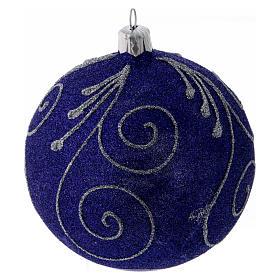 Boule Noël verre violet pailleté et argent 100 mm s1