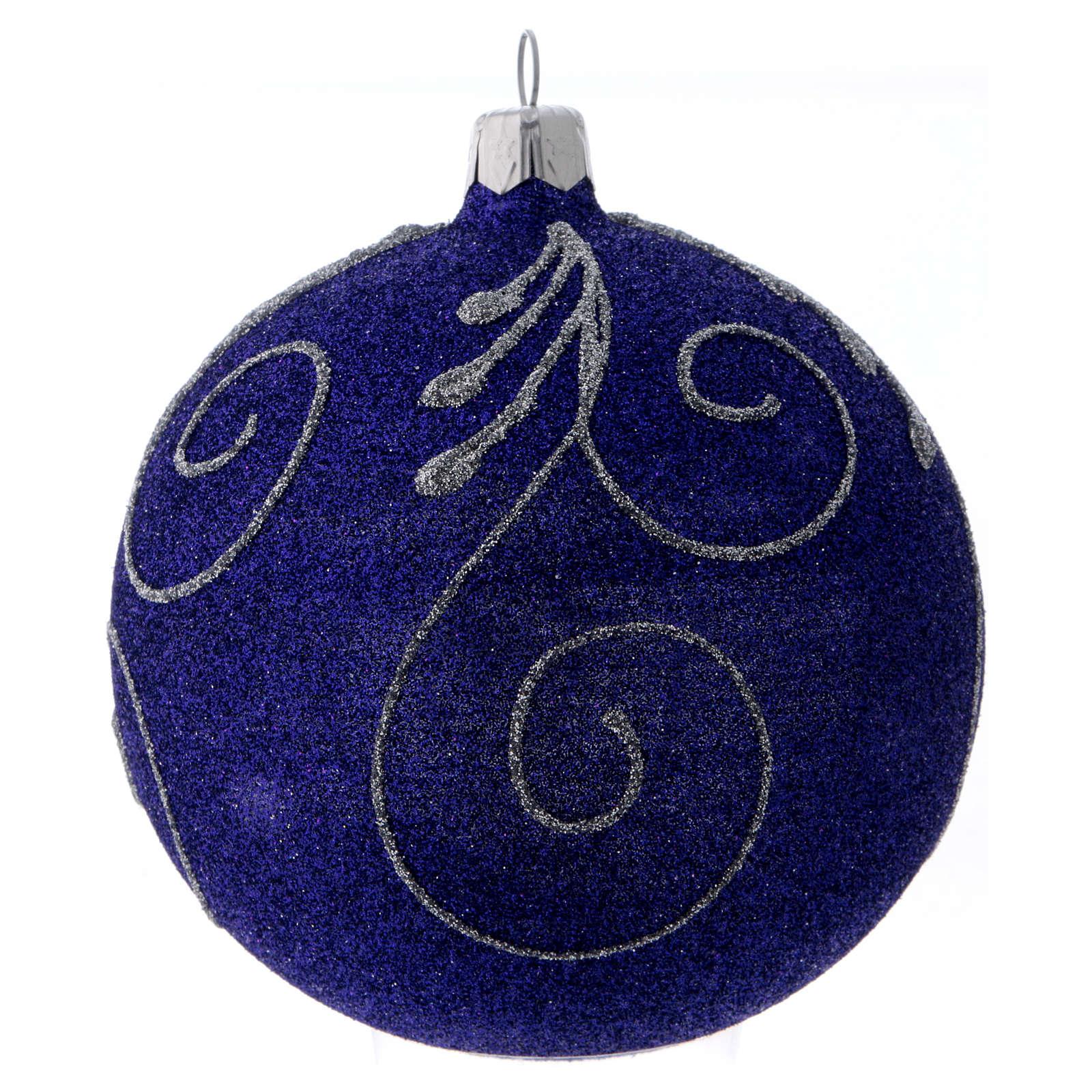 Pallina Natale vetro viola glitterato e argento 100 mm 4