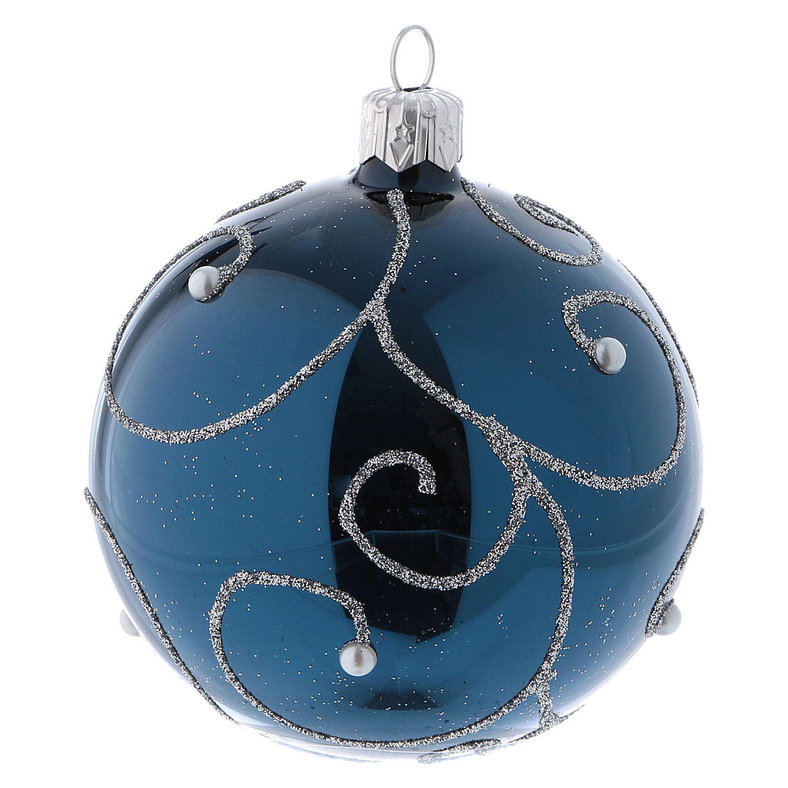 Weihnachtskugeln Blau.Weihnachtskugeln Aus Glas 6er Set Grundton Blau Mit Silbernen Verzierungen Glitter 80 Mm
