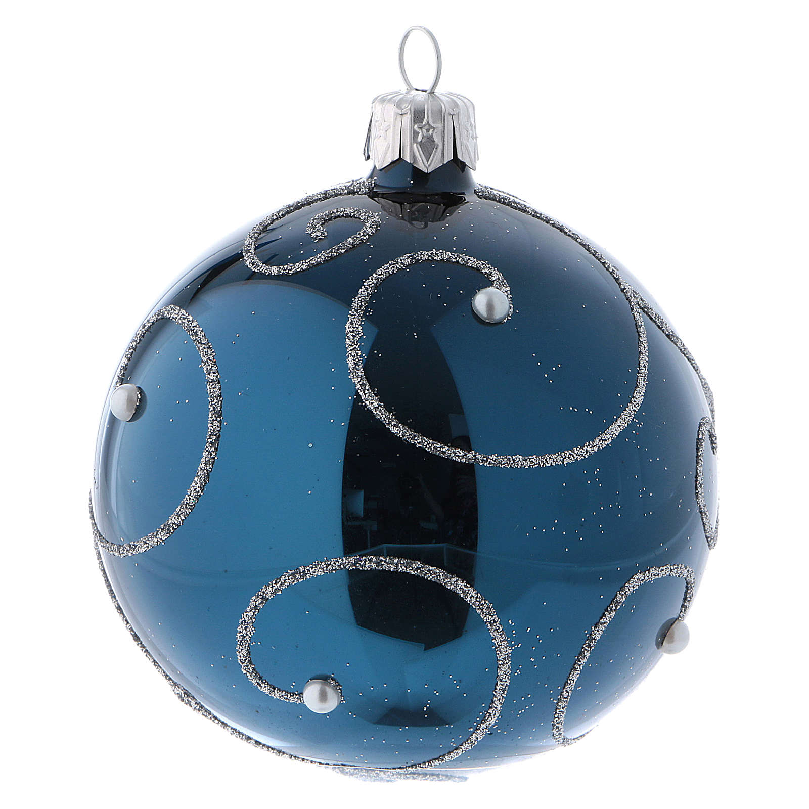 christmas ball in blue glass with glittery silver decorations 80 mm 6 pieces 4