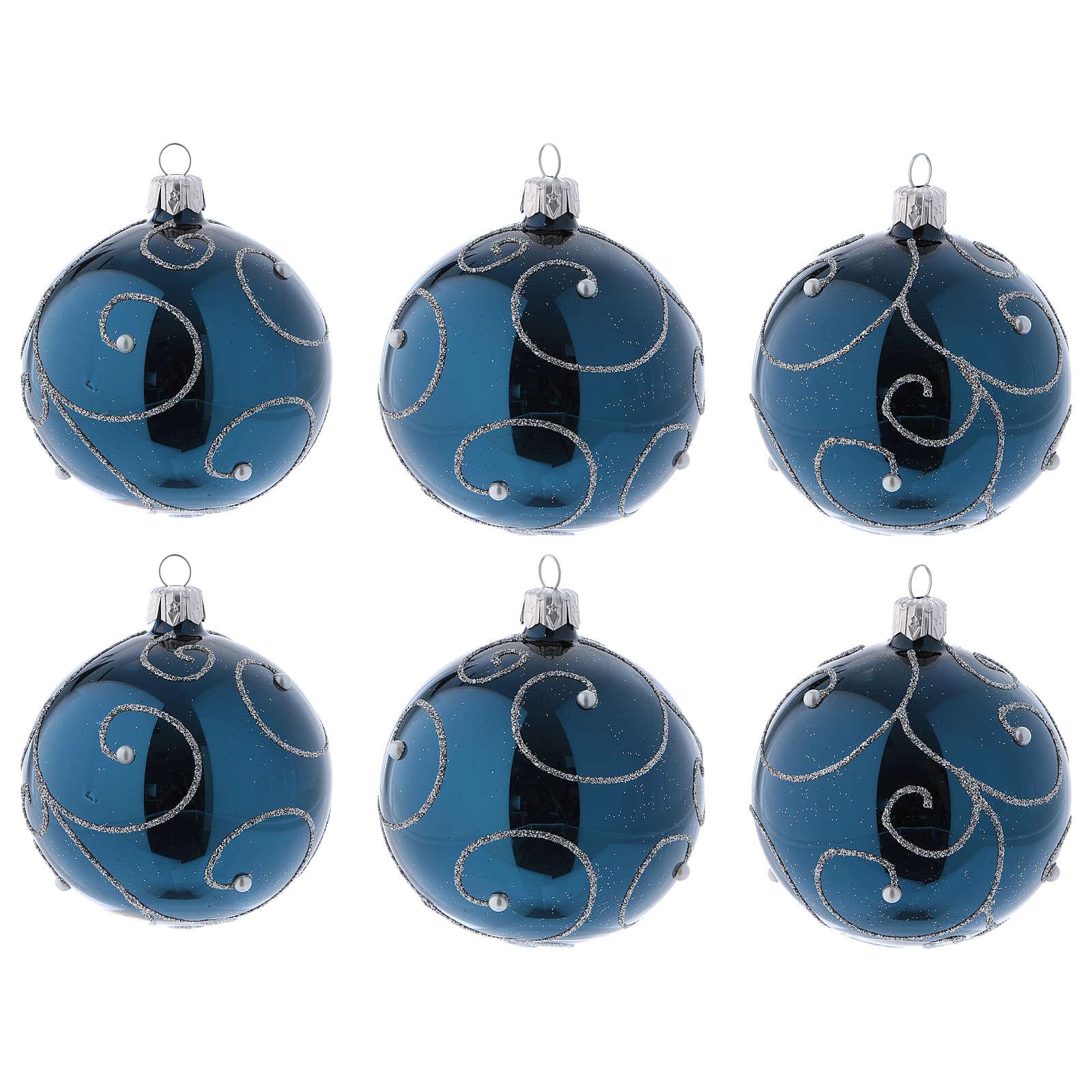 Palle Albero di Natale vetro blu decoro argento glitter 80 mm 6 pz