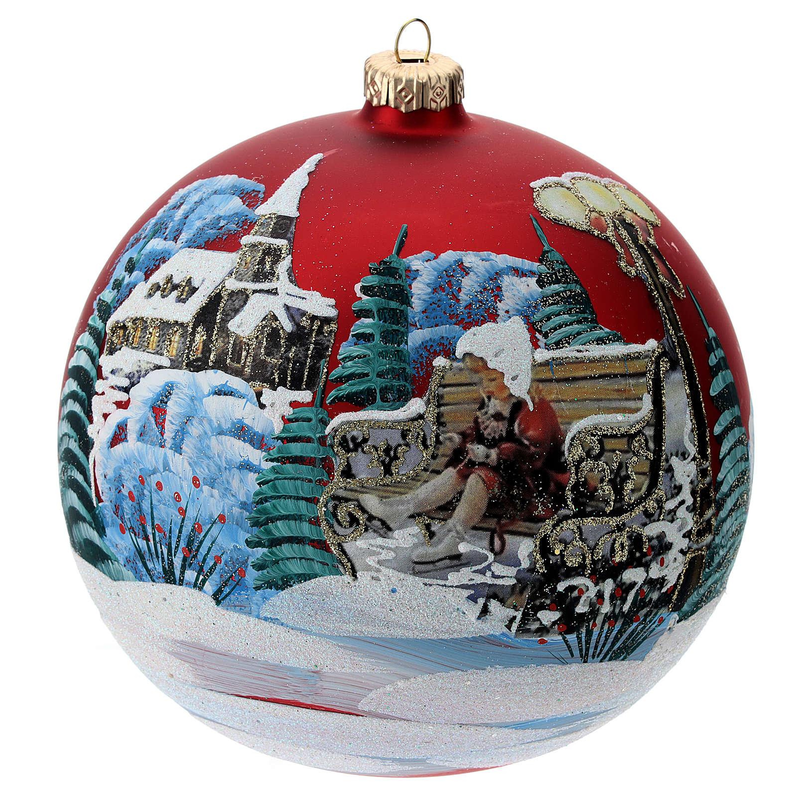 Boule verre avec paysage Noël et petite fille 150 mm 4