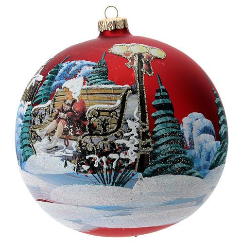 Boule verre avec paysage Noël et petite fille 150 mm 2