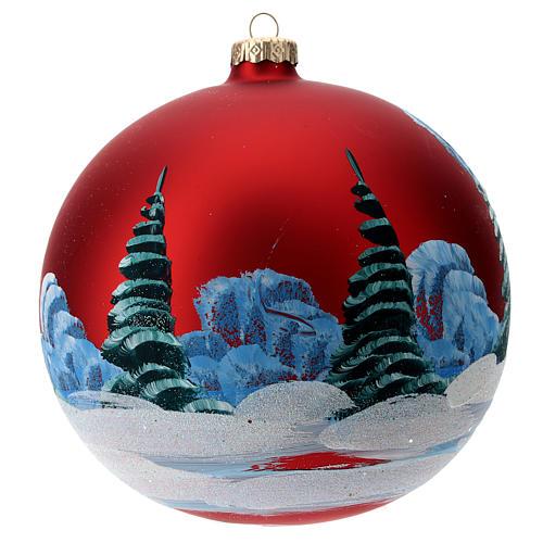 Palla vetro con paesaggio natalizio e bambina 150 mm 4